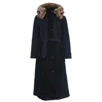 Faux Fur Hooded Coat, Utility Blue - pattern: plain; collar: funnel; back detail: hood; style: wrap around; predominant colour: navy; occasions: casual, creative work; fit: tailored/fitted; fibres: cotton - mix; length: below the knee; waist detail: belted waist/tie at waist/drawstring; sleeve length: long sleeve; sleeve style: standard; collar break: high; pattern type: fabric; texture group: woven bulky/heavy; embellishment: fur; season: a/w 2016; wardrobe: highlight; embellishment location: neck