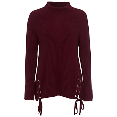 Freedom Fringe Jumper, Zinfandel - pattern: plain; neckline: high neck; length: below the bottom; style: standard; predominant colour: burgundy; occasions: casual, creative work; fibres: nylon - mix; fit: loose; sleeve length: long sleeve; sleeve style: standard; texture group: knits/crochet; pattern type: knitted - fine stitch; season: a/w 2016; wardrobe: highlight; trends: chunky knits