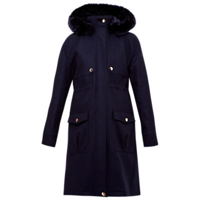 Eggle Hooded Wool Parka Coat, Navy - pattern: plain; collar: funnel; fit: loose; style: parka; back detail: hood; predominant colour: navy; occasions: casual, creative work; fibres: acrylic - mix; length: below the knee; sleeve length: long sleeve; sleeve style: standard; collar break: high; pattern type: fabric; texture group: woven bulky/heavy; embellishment: fur; season: a/w 2016; wardrobe: highlight
