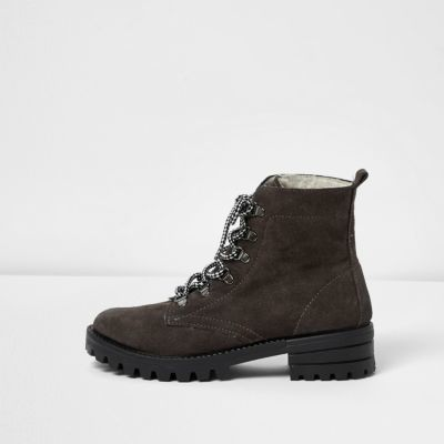 Womens Grey Suede Hiker Boots - predominant colour: black; occasions: casual; material: suede; heel height: flat; heel: block; toe: round toe; boot length: ankle boot; style: standard; finish: plain; pattern: plain; wardrobe: basic; season: a/w 2016