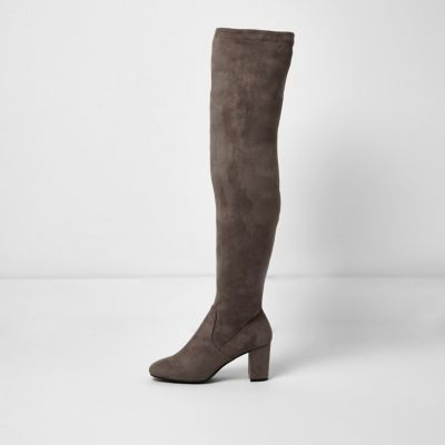 Womens Grey Over The Knee Block Heel Boots - predominant colour: charcoal; occasions: casual, creative work; material: suede; heel height: high; heel: block; toe: round toe; boot length: over the knee; style: standard; finish: plain; pattern: plain; wardrobe: investment; season: a/w 2016