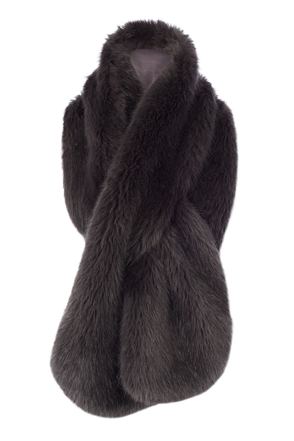 Luella Longline Fur Scarf, Grey - predominant colour: charcoal; occasions: evening, creative work; type of pattern: standard; size: large; material: faux fur; pattern: plain; style: stole; wardrobe: basic; season: a/w 2016