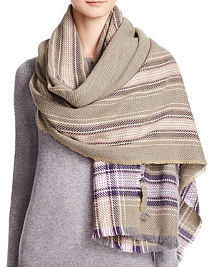 Frame Plaid Scarf - predominant colour: stone; occasions: casual; type of pattern: heavy; style: wrap; size: large; material: fabric; pattern: checked/gingham; multicoloured: multicoloured; season: a/w 2016; wardrobe: highlight