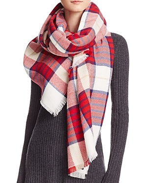 Tartan Scarf - predominant colour: white; secondary colour: true red; occasions: casual; type of pattern: standard; style: regular; size: standard; material: fabric; embellishment: fringing; pattern: tartan; multicoloured: multicoloured; season: a/w 2016; wardrobe: highlight
