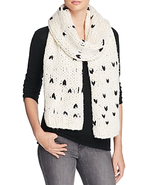 Heart Stitch Scarf - predominant colour: ivory/cream; secondary colour: black; occasions: casual; type of pattern: standard; style: regular; size: large; material: knits; pattern: patterned/print; multicoloured: multicoloured; season: a/w 2016; wardrobe: highlight