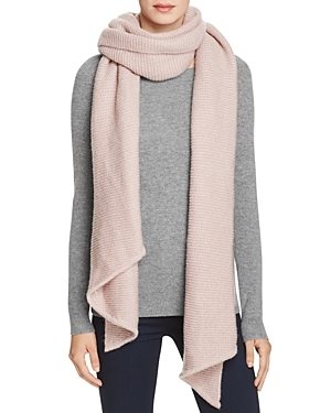 Asymmetrical Wrap Scarf - predominant colour: blush; occasions: casual, creative work; type of pattern: standard; style: regular; size: large; material: fabric; pattern: plain; wardrobe: basic; season: a/w 2016