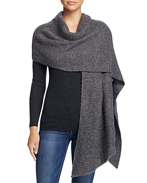 Asymmetrical Wrap Scarf - predominant colour: charcoal; occasions: casual, creative work; type of pattern: standard; style: wrap; size: large; material: knits; pattern: plain; wardrobe: basic; season: a/w 2016