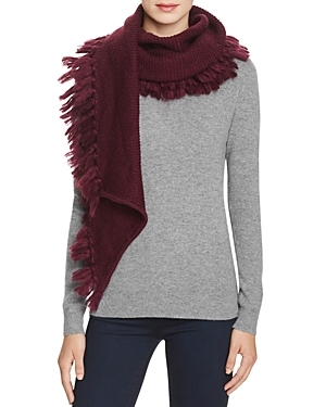 Asymmetrical Fringe Muffler Scarf - predominant colour: aubergine; occasions: casual; type of pattern: standard; style: regular; size: large; material: fabric; embellishment: fringing; pattern: plain; season: a/w 2016; wardrobe: highlight