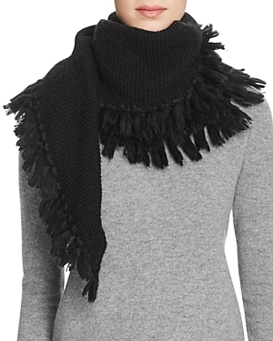 Asymmetrical Fringe Muffler Scarf - predominant colour: black; occasions: casual; type of pattern: standard; style: regular; size: large; material: fabric; embellishment: fringing; pattern: plain; wardrobe: basic; season: a/w 2016