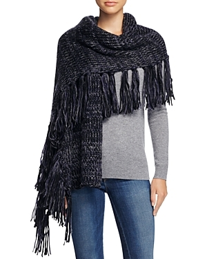 Chunky Melange Blanket Scarf - predominant colour: navy; occasions: casual; type of pattern: standard; style: wrap; size: large; material: knits; embellishment: fringing; pattern: plain; season: a/w 2016