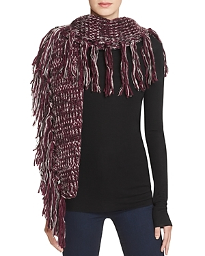 Chunky Melange Blanket Scarf - secondary colour: white; predominant colour: aubergine; occasions: casual; type of pattern: standard; style: regular; size: large; material: knits; embellishment: fringing; pattern: plain; multicoloured: multicoloured; season: a/w 2016; wardrobe: highlight