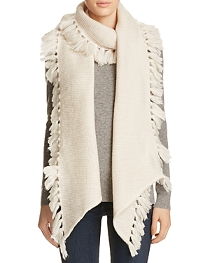 Asymmetrical Fringe Muffler Scarf - predominant colour: ivory/cream; occasions: casual; type of pattern: standard; style: regular; size: large; material: knits; embellishment: fringing; pattern: plain; wardrobe: basic; season: a/w 2016