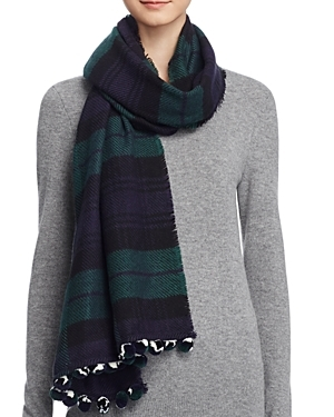 Color Block Scarf With Pom Poms 100% Exclusive - predominant colour: navy; secondary colour: dark green; occasions: casual; type of pattern: standard; style: regular; size: standard; material: fabric; embellishment: fringing; pattern: checked/gingham; multicoloured: multicoloured; season: a/w 2016; wardrobe: highlight