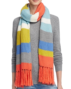 Striped Fringe Scarf 100% Bloomingdale's Exclusive - secondary colour: turquoise; predominant colour: coral; occasions: casual; type of pattern: heavy; style: regular; size: standard; material: knits; embellishment: fringing; pattern: horizontal stripes; multicoloured: multicoloured; season: a/w 2016; wardrobe: highlight