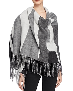 Geometric Woven Scarf 100% Exclusive - secondary colour: white; predominant colour: mid grey; occasions: casual; type of pattern: standard; style: wrap; size: large; material: knits; embellishment: fringing; pattern: colourblock; multicoloured: multicoloured; season: a/w 2016; wardrobe: highlight