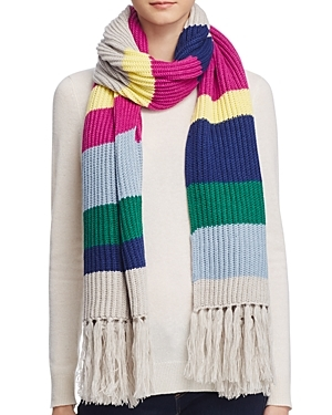 Striped Fringe Scarf 100% Bloomingdale's Exclusive - predominant colour: ivory/cream; occasions: casual; type of pattern: heavy; style: regular; size: large; material: knits; embellishment: fringing; pattern: horizontal stripes; multicoloured: multicoloured; season: a/w 2016; wardrobe: highlight
