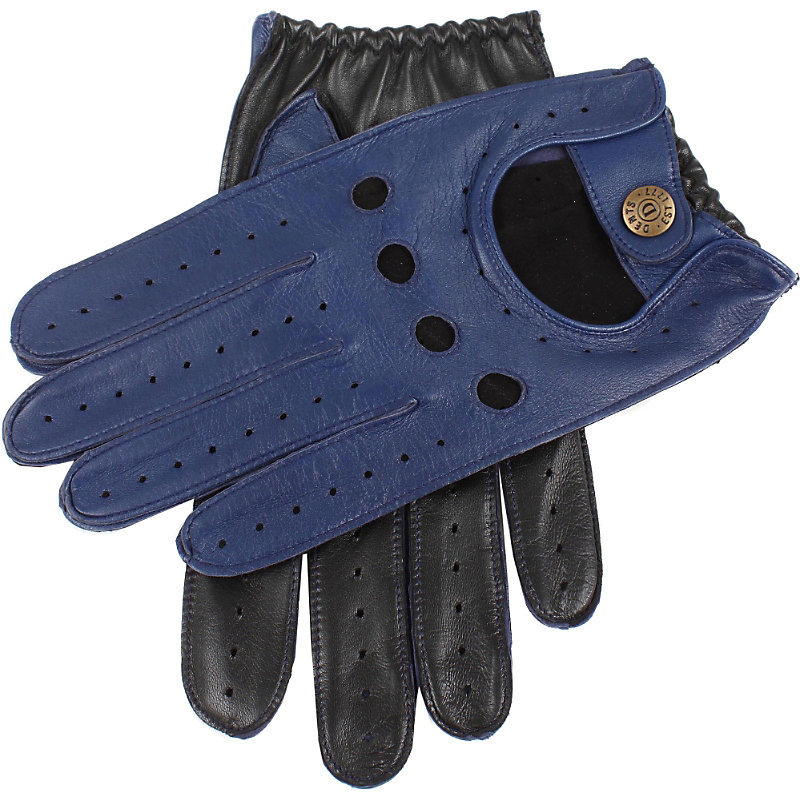 Waverley Two Tone Leather Driving Gloves, Women's, Size: Medium, Royal Blue/Balck - predominant colour: royal blue; occasions: casual, creative work; type of pattern: standard; style: driving; length: wrist; pattern: plain; material: suede; season: a/w 2016; wardrobe: highlight