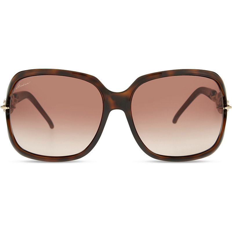 Gg3584 Round Frame Sunglasses, Women's, Brown - predominant colour: chocolate brown; occasions: casual, holiday; style: square; size: large; material: plastic/rubber; pattern: tortoiseshell; finish: plain; wardrobe: basic; season: a/w 2016
