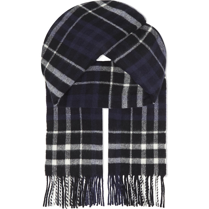 Scotland Checked Wool Scarf, Women's, Blue - predominant colour: navy; occasions: casual, creative work; type of pattern: large; style: regular; size: standard; material: knits; embellishment: fringing; pattern: checked/gingham; season: a/w 2016; wardrobe: highlight