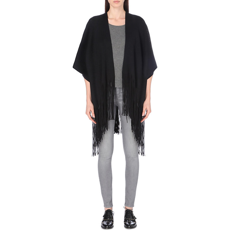 Apache Wool Scarf, Women's, Noir - predominant colour: black; occasions: casual, creative work; type of pattern: standard; style: wrap; size: large; material: knits; embellishment: fringing; pattern: plain; wardrobe: basic; season: a/w 2016