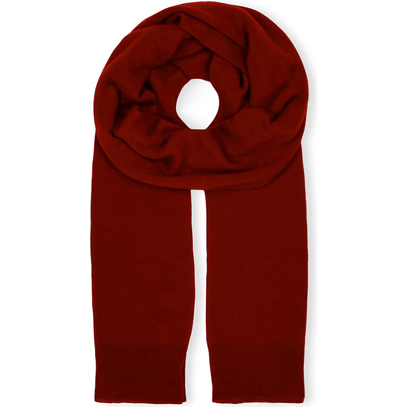 Cashair Cashmere Tube Scarf, Women's, Crimson/White - occasions: casual; type of pattern: standard; style: regular; size: standard; material: knits; pattern: plain; predominant colour: raspberry; season: a/w 2016; wardrobe: highlight