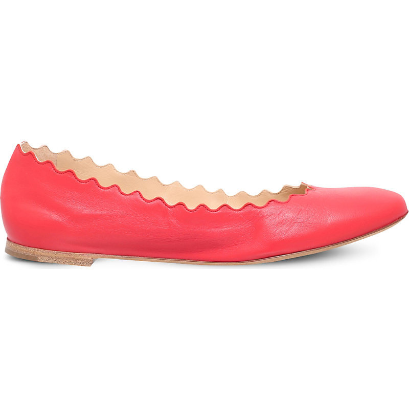 Lauren Scalloped Leather Ballet Flats, Women's, Eur 38 / 5 Uk Women, Red - predominant colour: true red; occasions: casual; material: leather; heel height: flat; toe: round toe; style: ballerinas / pumps; finish: plain; pattern: plain; season: a/w 2016; wardrobe: highlight
