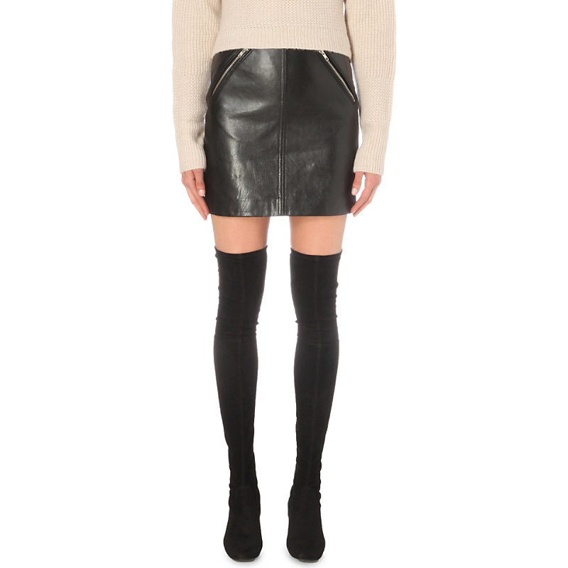 Juice Leather Skirt, Women's, Black - length: mini; pattern: plain; fit: body skimming; waist: mid/regular rise; predominant colour: black; occasions: casual; style: mini skirt; fibres: leather - 100%; texture group: leather; pattern type: fabric; season: a/w 2016; wardrobe: highlight