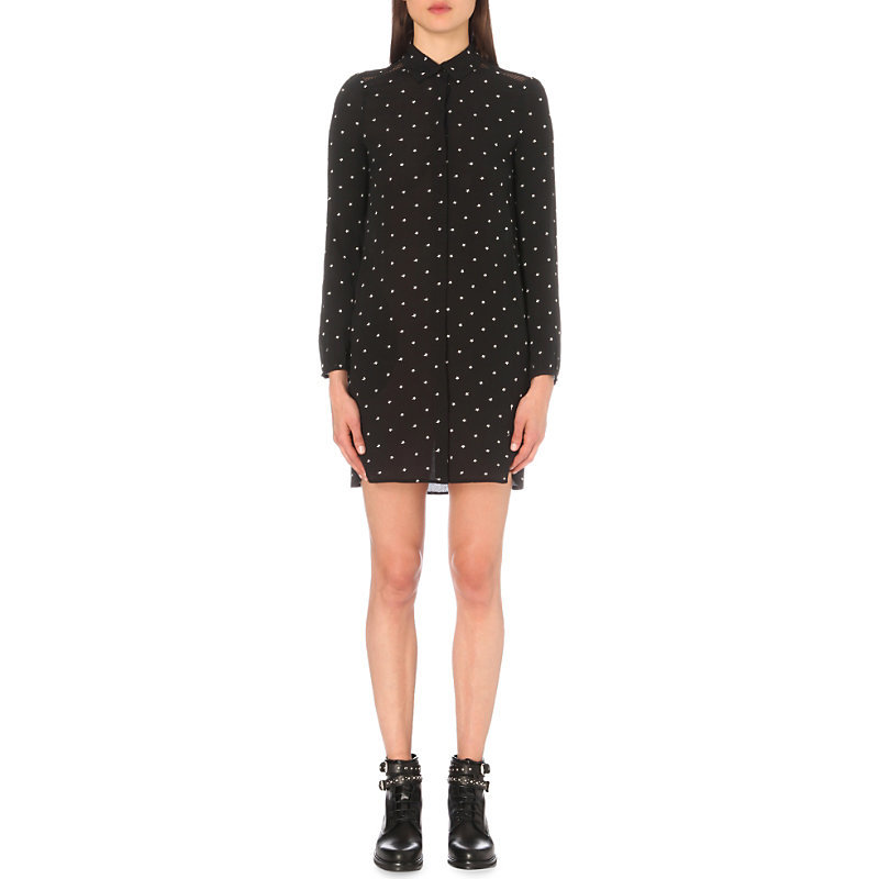 Rione Embroidered Shirt Dress, Women's, Size: Medium, Black - style: shirt; length: mid thigh; neckline: shirt collar/peter pan/zip with opening; pattern: polka dot; secondary colour: white; predominant colour: black; occasions: evening; fit: body skimming; sleeve length: long sleeve; sleeve style: standard; texture group: sheer fabrics/chiffon/organza etc.; pattern type: fabric; fibres: viscose/rayon - mix; multicoloured: multicoloured; season: a/w 2016; wardrobe: event