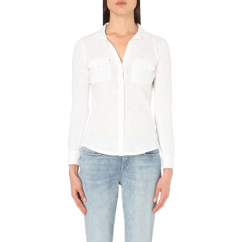 Cotton Jersey Shirt, Women's, White - neckline: shirt collar/peter pan/zip with opening; pattern: plain; style: shirt; predominant colour: white; occasions: casual, work, creative work; length: standard; fibres: cotton - 100%; fit: body skimming; sleeve length: long sleeve; sleeve style: standard; texture group: cotton feel fabrics; pattern type: fabric; wardrobe: basic; season: a/w 2016