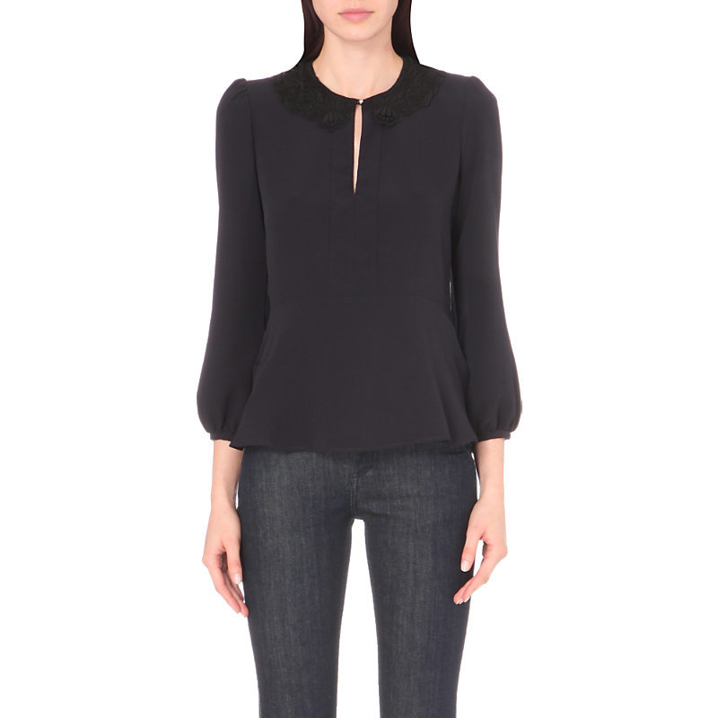 Ballerine Crepe Top, Women's, Dark Blue/Gold - pattern: plain; sleeve style: balloon; predominant colour: navy; occasions: work, creative work; length: standard; style: top; neckline: peep hole neckline; fibres: polyester/polyamide - 100%; fit: loose; sleeve length: long sleeve; texture group: crepes; pattern type: fabric; wardrobe: basic; season: a/w 2016
