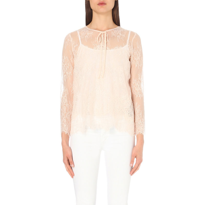 Layered Lace Top, Women's, Size: Xxs, Bellini - neckline: round neck; pattern: plain; predominant colour: nude; occasions: evening, work, occasion; length: standard; style: top; fibres: nylon - mix; fit: body skimming; sleeve length: 3/4 length; sleeve style: standard; texture group: sheer fabrics/chiffon/organza etc.; pattern type: fabric; embellishment: lace; season: a/w 2016; wardrobe: highlight