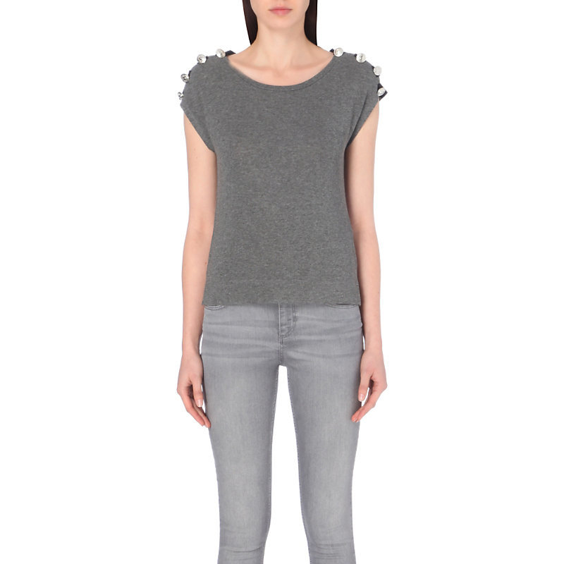 Tram Jersey Top, Women's, Size: Large, Light Gray/Dark Blue/Light Blue - neckline: round neck; sleeve style: capped; pattern: plain; predominant colour: mid grey; occasions: casual, creative work; length: standard; style: top; fibres: viscose/rayon - stretch; fit: body skimming; sleeve length: short sleeve; pattern type: fabric; texture group: jersey - stretchy/drapey; season: a/w 2016; wardrobe: highlight; embellishment location: shoulder