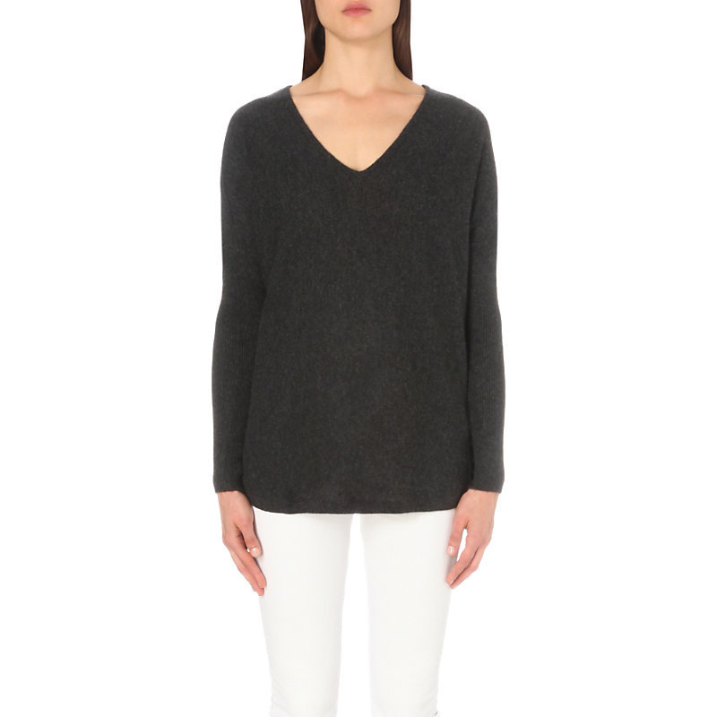 V Neck Cashmere Jumper, Women's, Darkcharcmarl - neckline: v-neck; pattern: plain; length: below the bottom; style: standard; predominant colour: charcoal; occasions: casual, creative work; fit: standard fit; fibres: cashmere - 100%; sleeve length: long sleeve; sleeve style: standard; texture group: knits/crochet; pattern type: knitted - fine stitch; wardrobe: investment; season: a/w 2016