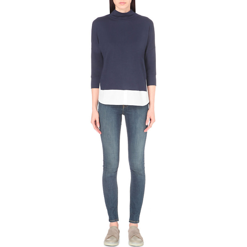 High Neck Jersey And Cotton Top, Women's, Size: Small, Nocturnal/White - neckline: high neck; predominant colour: navy; occasions: casual, creative work; length: standard; style: top; fibres: fur - 100%; fit: body skimming; sleeve length: 3/4 length; sleeve style: standard; pattern type: fabric; pattern size: standard; pattern: colourblock; texture group: jersey - stretchy/drapey; season: a/w 2016; wardrobe: highlight