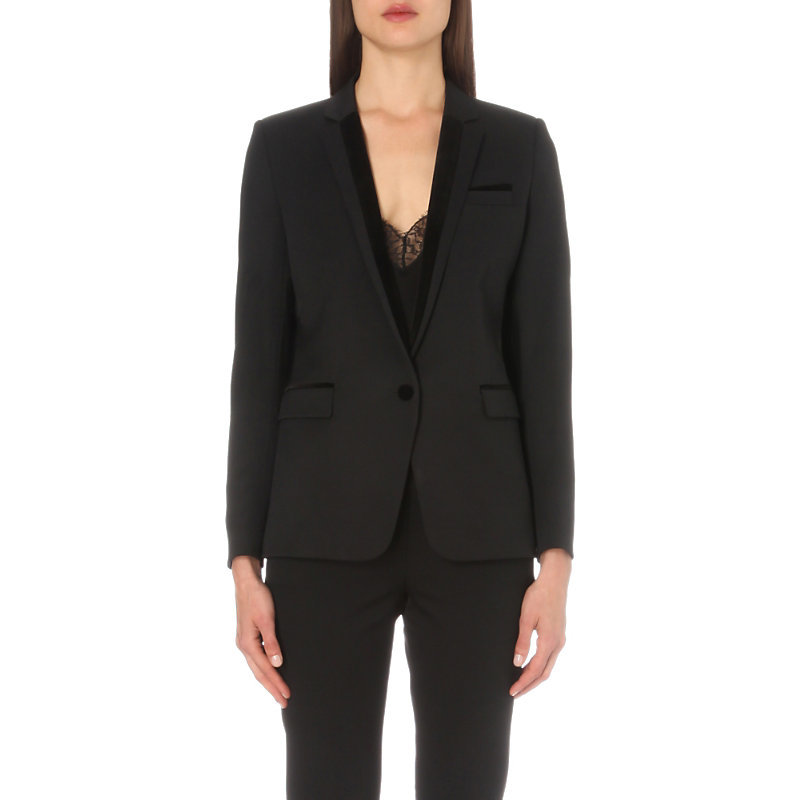 Velvet Trim Single Breasted Stretch Wool Jacket, Women's, Black - pattern: plain; style: single breasted blazer; collar: standard lapel/rever collar; predominant colour: black; occasions: evening, work; length: standard; fit: tailored/fitted; fibres: wool - stretch; sleeve length: long sleeve; sleeve style: standard; collar break: medium; pattern type: fabric; texture group: woven light midweight; wardrobe: investment; season: a/w 2016