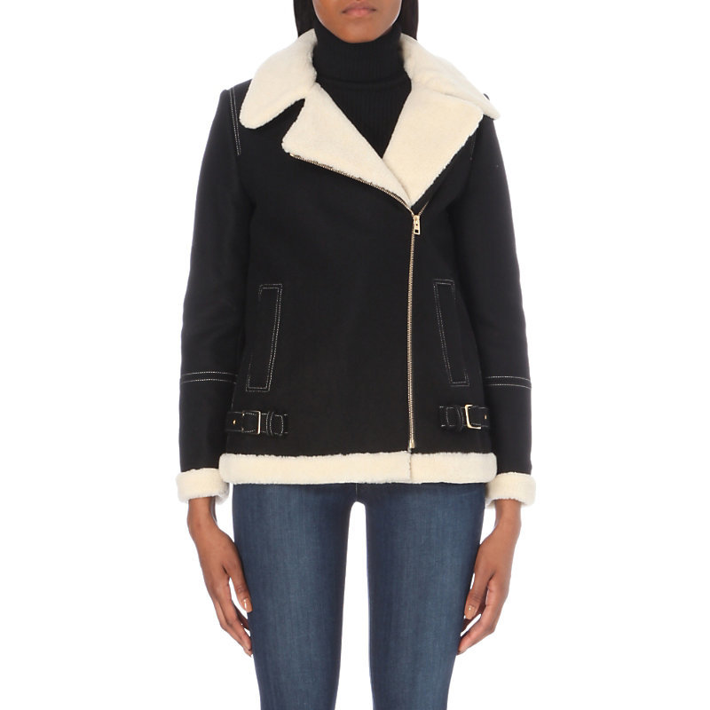 Gatsby Wool Blend Faux Shearling Jacket, Women's, Noir - pattern: plain; style: biker; length: below the bottom; fit: slim fit; collar: standard lapel/rever collar; predominant colour: black; occasions: casual, creative work; fibres: wool - mix; sleeve length: long sleeve; sleeve style: standard; collar break: medium; pattern type: fabric; texture group: sheepskin; season: a/w 2016; wardrobe: highlight