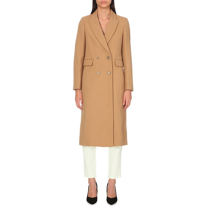 Gaby Wool Coat, Women's, Camel - pattern: plain; shoulder detail: shoulder pads; style: double breasted; collar: standard lapel/rever collar; predominant colour: camel; occasions: casual; fit: straight cut (boxy); fibres: wool - 100%; length: below the knee; sleeve length: long sleeve; sleeve style: standard; collar break: medium; pattern type: fabric; texture group: woven bulky/heavy; season: a/w 2016