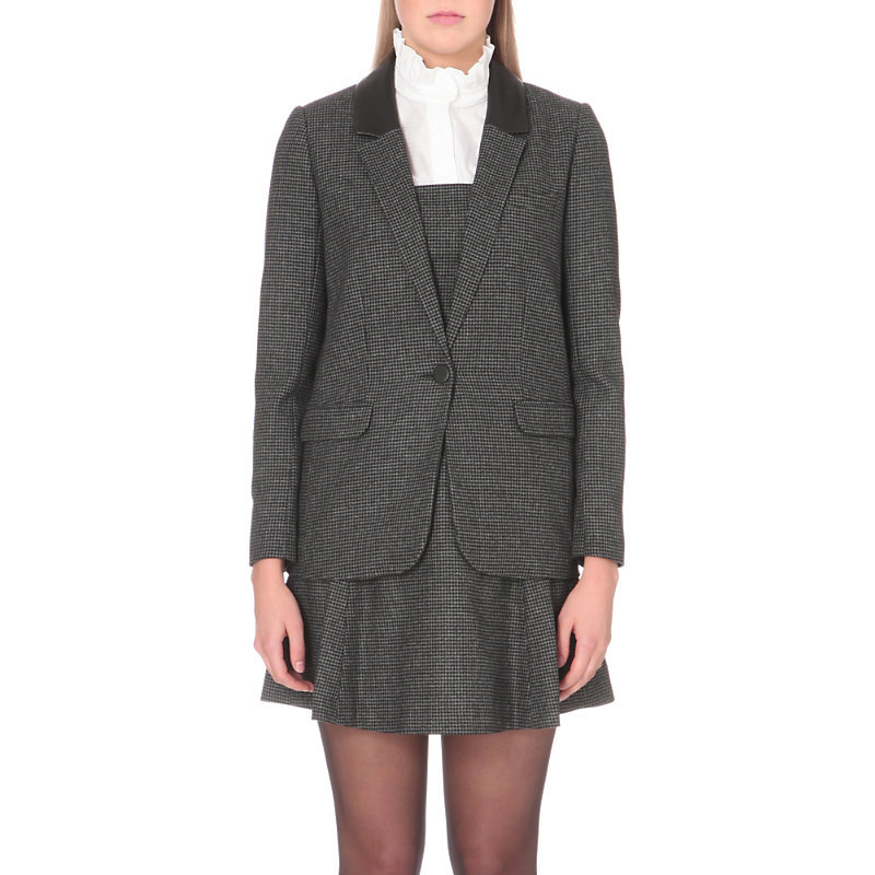 Verveine Wool Blend Jacket, Women's, Gris Chine - pattern: plain; style: single breasted blazer; collar: standard lapel/rever collar; predominant colour: charcoal; occasions: work; length: standard; fit: tailored/fitted; fibres: wool - mix; sleeve length: long sleeve; sleeve style: standard; collar break: medium; pattern type: fabric; texture group: woven light midweight; wardrobe: investment; season: a/w 2016