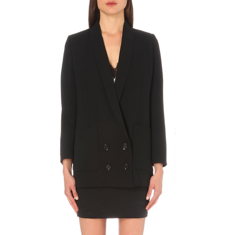 Oversized Double Breasted Crepe Jacket, Women's, Black - pattern: plain; style: double breasted blazer; length: below the bottom; collar: standard lapel/rever collar; predominant colour: black; occasions: work; fit: tailored/fitted; fibres: polyester/polyamide - 100%; sleeve length: long sleeve; sleeve style: standard; collar break: medium; pattern type: fabric; texture group: woven light midweight; wardrobe: investment; season: a/w 2016