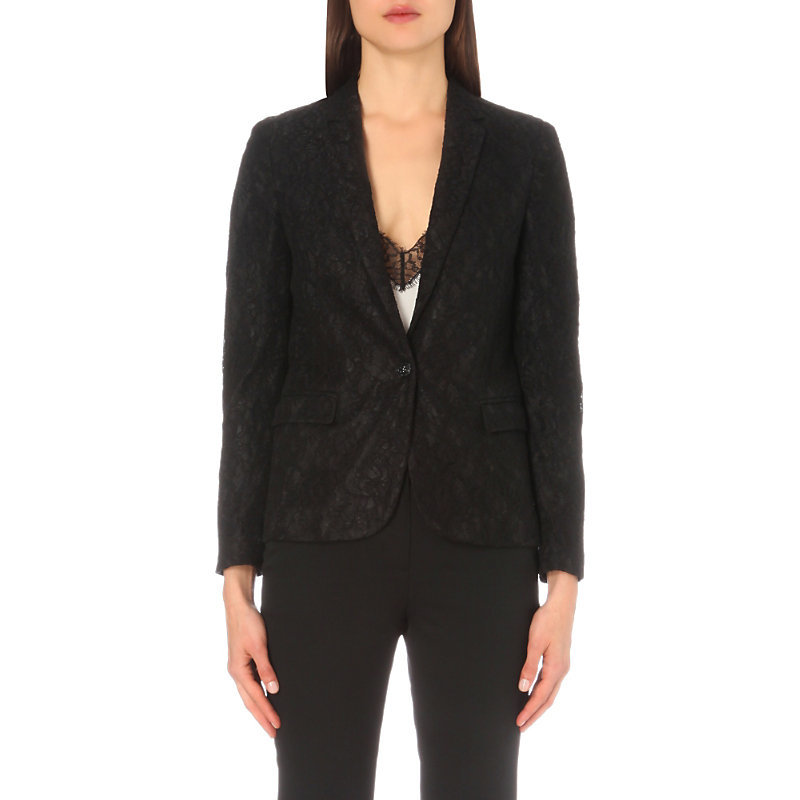 Single Breasted Floral Lace Jacket, Women's, Black - style: single breasted blazer; collar: standard lapel/rever collar; predominant colour: black; occasions: evening, work; length: standard; fit: tailored/fitted; fibres: polyester/polyamide - stretch; sleeve length: long sleeve; sleeve style: standard; texture group: lace; collar break: medium; pattern type: fabric; pattern: patterned/print; embellishment: lace; season: a/w 2016; wardrobe: highlight; embellishment location: all over