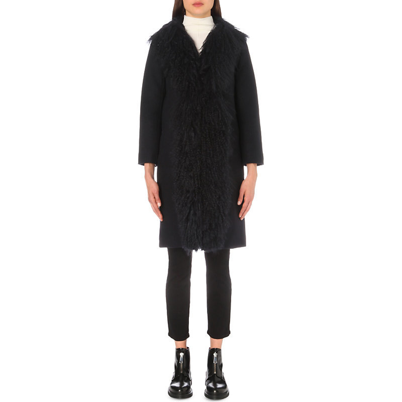 Gaby Shearling Trimmed Wool Blend Coat, Women's, Blue - pattern: plain; style: single breasted; length: on the knee; predominant colour: navy; occasions: casual, creative work; fit: straight cut (boxy); fibres: wool - mix; sleeve length: long sleeve; sleeve style: standard; collar: fur; collar break: medium; pattern type: fabric; texture group: sheepskin; embellishment: fur; season: a/w 2016