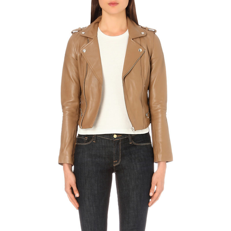 Basalt Leather Biker Jacket, Women's, Camel - pattern: plain; style: biker; collar: asymmetric biker; fit: slim fit; predominant colour: camel; occasions: casual; length: standard; fibres: leather - 100%; sleeve length: long sleeve; sleeve style: standard; texture group: leather; collar break: medium; pattern type: fabric; season: a/w 2016