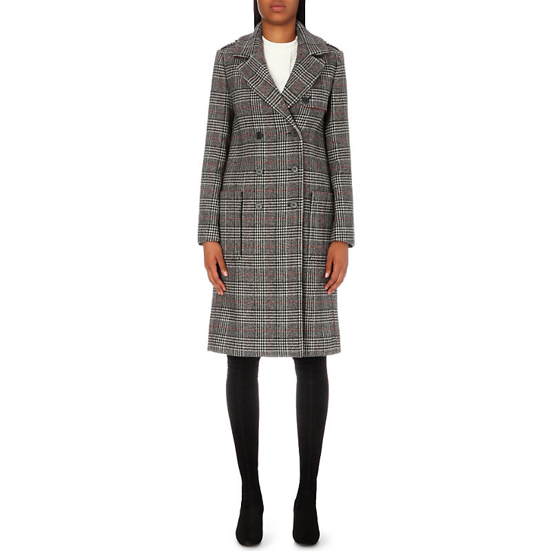 Gilbert Wool Blend Coat, Women's, Jacquard - pattern: checked/gingham; shoulder detail: obvious epaulette; style: double breasted; length: on the knee; collar: standard lapel/rever collar; predominant colour: mid grey; occasions: casual; fit: tailored/fitted; fibres: wool - mix; hip detail: added detail/embellishment at hip; back detail: back vent/flap at back; sleeve length: long sleeve; sleeve style: standard; collar break: medium; pattern type: fabric; texture group: woven bulky/heavy; season: a/w 2016; wardrobe: highlight
