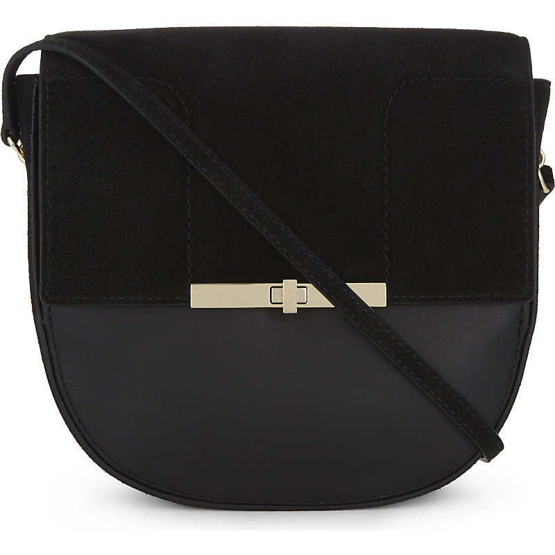 Alias Leather Cross Body Bag, Women's, Noir - secondary colour: gold; predominant colour: black; occasions: casual; type of pattern: standard; style: saddle; length: across body/long; size: small; material: leather; pattern: plain; finish: plain; season: a/w 2016