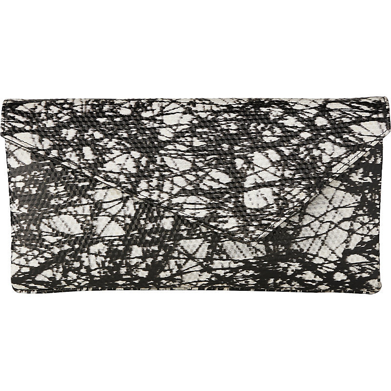 Leonie Leather Clutch, Women's, Pri Black/White - secondary colour: white; predominant colour: black; occasions: evening; type of pattern: heavy; style: clutch; length: hand carry; size: small; material: leather; finish: plain; pattern: patterned/print; multicoloured: multicoloured; season: a/w 2016; wardrobe: event