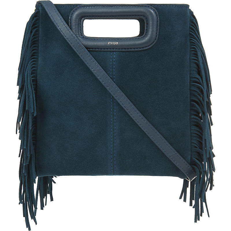 The M Suede Cross Body Bag, Women's, Size: Medium, Canard - predominant colour: black; occasions: casual; type of pattern: standard; style: messenger; length: across body/long; size: standard; material: suede; embellishment: fringing; pattern: plain; finish: plain; season: a/w 2016; wardrobe: highlight