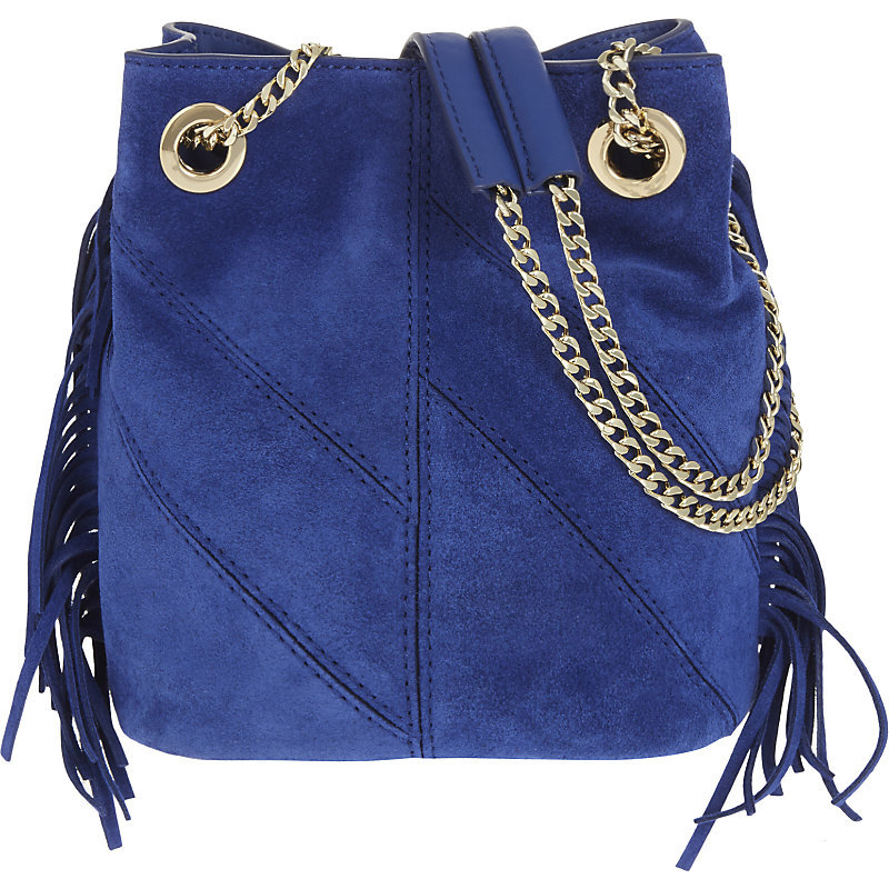 Temple Suede Bucket Bag, Women's, Bleu Electrique - predominant colour: royal blue; occasions: casual, creative work; type of pattern: standard; style: onion bag; length: shoulder (tucks under arm); size: standard; material: suede; embellishment: tassels; pattern: plain; finish: plain; season: a/w 2016; wardrobe: highlight