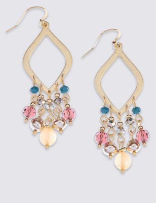 Triangle Bead Earrings - predominant colour: gold; occasions: evening, occasion; style: chandelier; length: mid; size: standard; material: chain/metal; fastening: pierced; finish: plain; embellishment: jewels/stone; multicoloured: multicoloured; season: a/w 2016; wardrobe: event