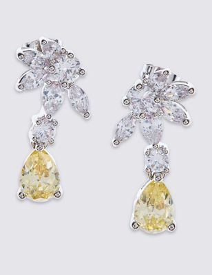 Platinum Plated Lemon Floral Earrings - predominant colour: silver; occasions: evening, occasion; style: drop; length: mid; size: standard; material: chain/metal; fastening: pierced; finish: metallic; embellishment: jewels/stone; season: a/w 2016; wardrobe: event