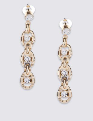 Chunk Chain Drop Earrings - predominant colour: gold; occasions: evening, occasion; style: drop; length: long; size: standard; material: chain/metal; fastening: pierced; finish: metallic; embellishment: crystals/glass; season: a/w 2016